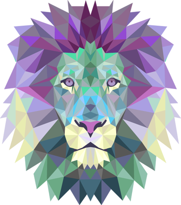 TenStickers. Artistic Lion Head Teal Sticker. A striking geometric illustration of a fierce lion, the king of the jungle. Distinctive colourful feature from our collection of teal wall stickers.