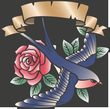 TenVinilo. Vinilo tattoo pájaro rosa y leyenda. Adhesivo con ilustración de freepik de una golondrina inspirado en el estilo de los tatuajes vintage.