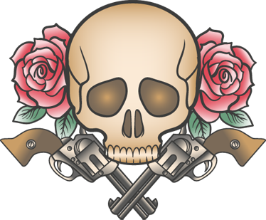TenStickers. Pistols, Death and Roses Tattoo Sticker. A very original decal of a tattoo design from Freepik. If you love tattoos and would like to decorate your wall then this is for you.