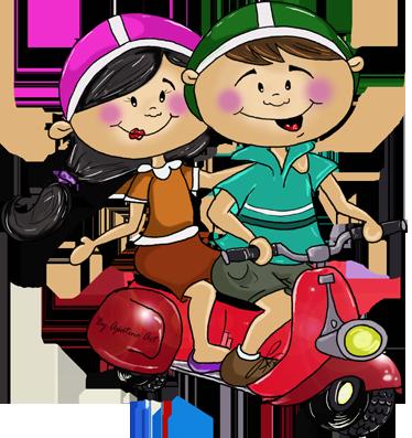 TenStickers. Sticker decorativo in due in vespa. Adesivo murale che raffigura una simpatica coppia di scooteristi a bordo delle loro vespa rossa. Ideale per decorare la cameretta dei bambini.
