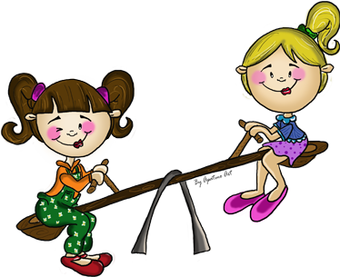 TenStickers. Seesaw Kids Sticker. A superb children's wall sticker illustrating two little girls playing on a seesaw! Brilliant design to decorate your children's room.
