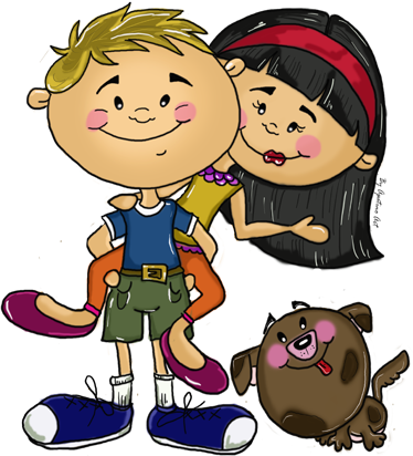 TenVinilo. Vinilo infantil amigos a coscoletas. Un diseño original de la ilustradora segoviana Apatino Art de dos jóvenes acompañados de un perro.