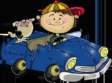 TenStickers. Sticker enfant voiture. Un dessin original de l'illustratrice Apatino Art d'un enfant à la casquette conduisant une voiture bleue accompagné de son petit chien.