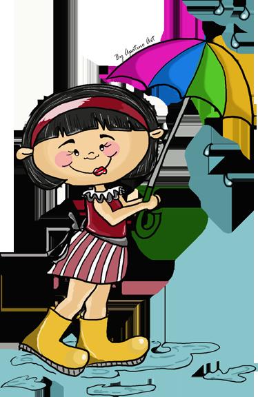 TenStickers. 带雨伞孩子的小女孩贴纸. 一个彩色的墙贴,显示一个小女孩走回家拿着雨伞,以保护自己免受雨淋。