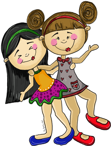 TenStickers. Girls Playing Kids Stickers. A decorative decal designed by Apatino Art. A very colourful design where you can see two girls having fun.