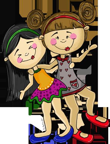 TenStickers. Meninas brincando Autocolantes infantis. Um Vinil decorativo desenhado por apatino art. Um produtomuito colorido, onde pode ver duas garotas se divertindo.