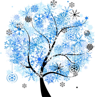 TenStickers. Winter Tree Design Wall Sticker. Floral wall decals -This design illustrates a winter themed tree with frosted flakes and crystals. Icy winter colours of blue, grey and white shades