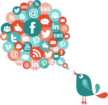 TenStickers. Media Bird Wall Sticker. Multicoloured business wall sticker for an office showing a bird tweeting about all the possible icons to do with the Internet and social media. Includes the logos of Facebook, Twitter, Tumblr, Pinterest, YouTube and more!