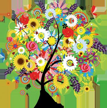 TenStickers. Mural de parede árvore e flores de verão. Mural de parede ilustrando uma árvore preenchida com flores e cores de verão que o permite experienciar a Natureza em todo o seu esplendor.