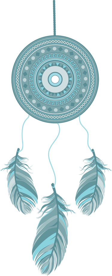TenStickers. Decorative Blue Dreamcatcher Sticker. Drive away evil spirits with this creative design of a classic Indian charm with feathers.