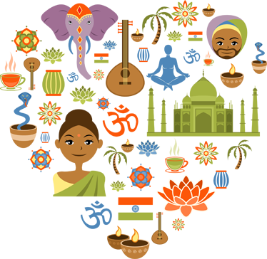 TenStickers. Stencil muro love India. Colorate iconografie nate dalla mano di Freepik per decorare le tue pareti.Decorazione adesiva perfetta, se sei perdutamente innamorato dell'India.