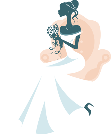 TenVinilo. Vinilo decorativo novia sillón. Elegante representación en adhesivo de una futura esposa posando con un ramo en sus manos.
