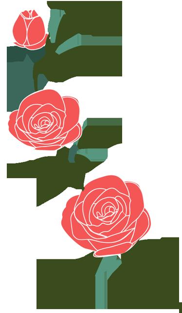 TenVinilo. Vinilo decorativo ramificación rosas. Elegante pegatina de un tallo verde con tres flores rojas. Composición en diaglonal.