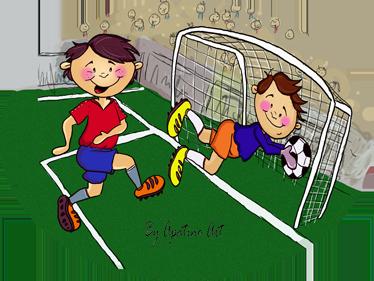 TenStickers. Scorende goal kinderen sticker. Schattige en vooral vrolijke muursticker van twee voetballende jongens! De ene jongen scoort en is heel vrolijk!