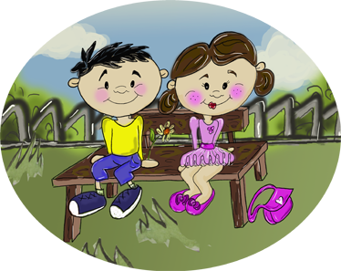 TenStickers. Children On A Bench. Original illustration by Apatino Art of a little boy and girl on a park bench.