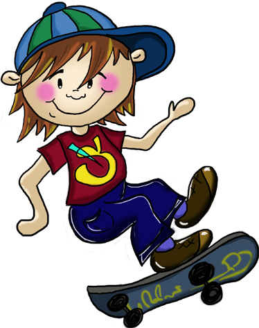 TenVinilo. Vinilo infantil joven skater. Vinilo con un dibujo de Apatino Art para tenvinilo.com de un niño haciendo saltos y acrobacias con su monopatín.