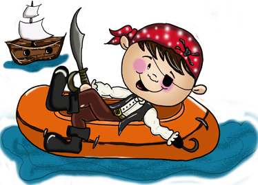 TenVinilo. Vinilo infantil lancha pirata. Si tu hijo es un grumete, un marinero de agua dulce, un corsario... regálale este divertido adhesivo decorativo de Apatino Art.