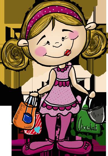 TENSTICKERS. 小さな女の子のショッピングステッカー. アパチーノアートから撮影した買い物袋を運ぶ若いブロンドの女の子のイラストステッカー。