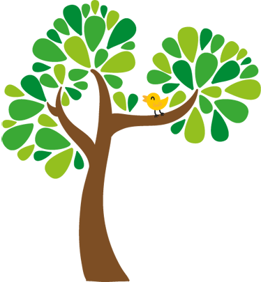 TenStickers. Kids Bird and Tree Wall Sticker. Kids Wall Stickers - Colourful illustration of a tree with leaves accompanied by a cute little yellow bird. Available in various sizes.