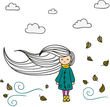 TenStickers. Sticker enfant vent souffle. Un sticker plein de poésie d'une jeune fille à la longue chevelure emportée par un vent d'automne. Un sticker original pour décorer la chambre de votre enfant.