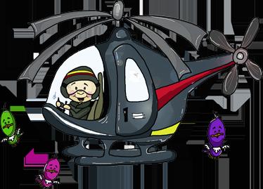 TenVinilo. Vinilo infantil viaje en helicóptero. Original pegatina aérea para decoración con una ilustración de la artista Apatino Art.