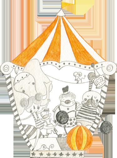 TenStickers. sticker cirque du peuple. Une illustration spectaculaire sur sticker d'un chapiteau de cirque en gris et orange réalisé par Bonita del Norte.