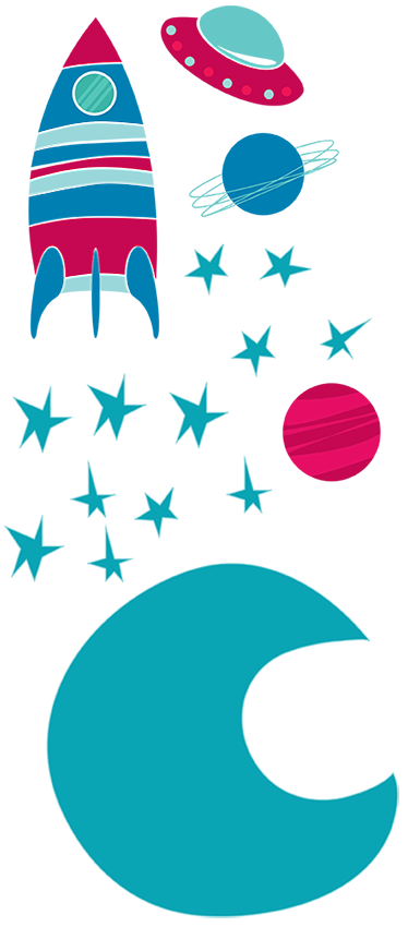 TenStickers. Kids Space Moon Decal Collection. Kids Wall Stickers-Vibrant collection of space themed elements; the moon, stars, planets and spaceships. Available in various sizes.