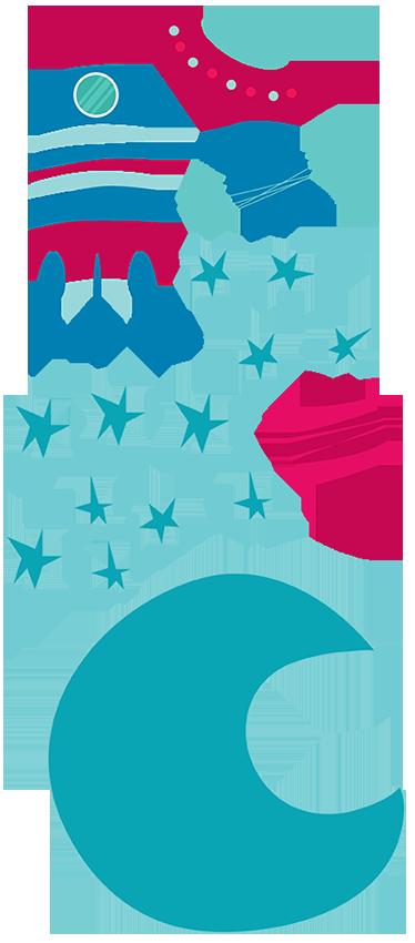 TenVinilo. Sticker infantil espacial para niños. Adhesivos decorativos infantiles para niños interesados en la astronomía para que hagan volar su imaginación. Vinilo de autor Bonita del Norte.