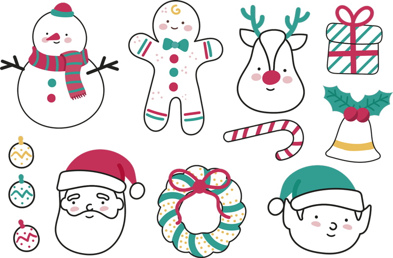 TenStickers. Christmas Elements Sticker. A fantastic Christmas wall sticker illustrating various characters including Santa Claus, Rudolph and a snowman.