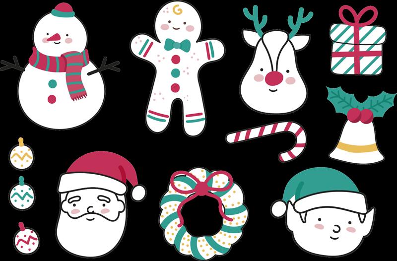 TENSTICKERS. クリスマスの要素のステッカー. サンタクロース、ルドルフ、雪だるまをはじめとする様々なキャラクターを描く素晴らしいクリスマスウォールステッカー。