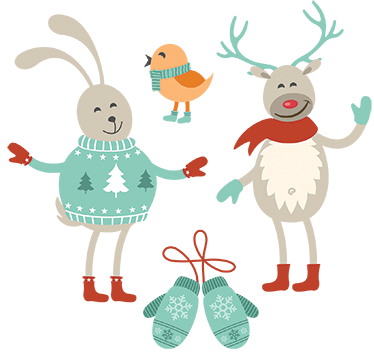 TenStickers. Decorative Winter Characters Sticker. Decorative Christmas sticker. Have fun and decorate your home with this wonderful family sticker. Add a special touch to your home