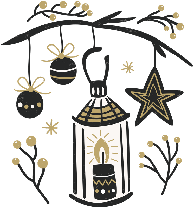 TenStickers. Ornament Christmas Decal. Celebrate the New Year with this elegant festive ornament sticker.