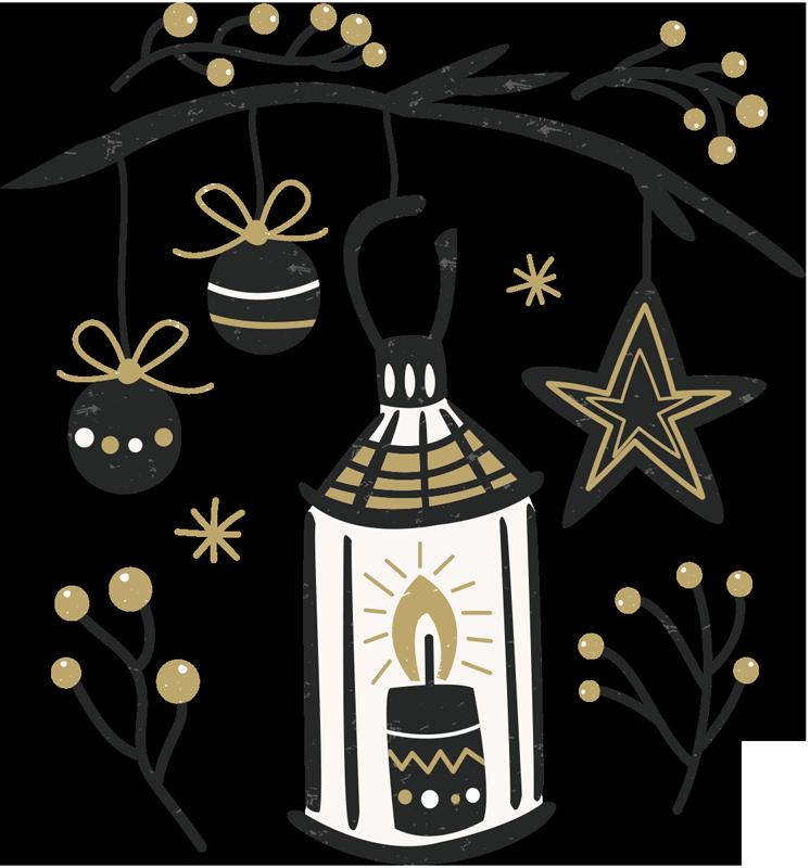 TenStickers. Sticker bougie Noël. Célébrez la nouvelle année avec classe et élégance grâce à cette décoration sur sticker ornée du texte en anglais Happy New Year.