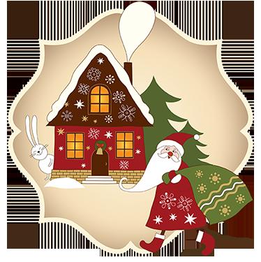 TenVinilo. Vinilo decorativo casa de papa noel. Sticker decorativo de papa noel repartiendo regalos. Para llenar tu hogar del espíritu navideño que a todos nos encanta.