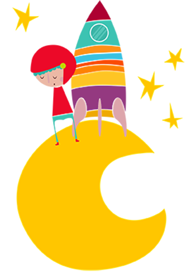 TenStickers. Naljepnica zida astronauta iz žutog mjeseca. Dječje zidne naljepnice - živopisna ilustracija malog istraživača svemira na mjesecu okruženom zvijezdama.