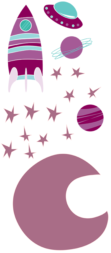 TenStickers. Kids Space Purple Moon Decal Collection. A vibrant collection of space themed elements; the moon, stars, planets and spaceships. Space decal from our collection of purple wall stickers.