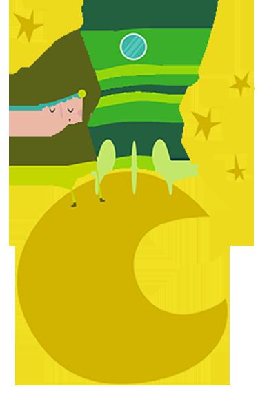 TenVinilo. Vinilo infantil cosmonauta luna tono verde. Sticker infantil para aquellos que les gusten los astronautas y el espacio. Para potenciar su imaginación y decorar tu hogar.