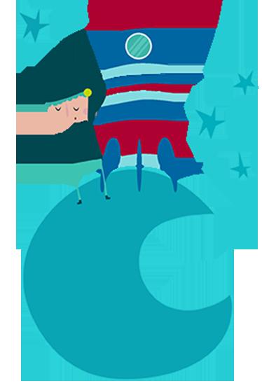 TENSTICKERS. ブルームーン宇宙飛行士の壁のステッカー. キッズウォールステッカー-星に囲まれた月の小さな宇宙探検家の鮮やかなイラスト。保育園を飾るために理想的な青い色調。