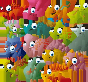TenStickers. Sticker baby dinosaurussen kleuren ogen. Deze sticker omtrent verschillende soorten dinosaurussen ontworpen in kinderlijke vormen en kleuren. Ideaal voor kinderen!