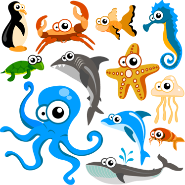 Curious Sea Creatures Collection Kids Stickers - TenStickers