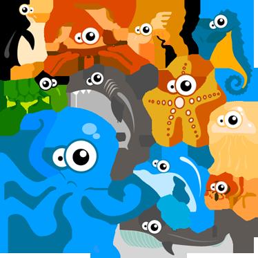 TenStickers. Meerestiere Comic Aufkleber. Wandtattoo Unterwasserwelt - Hai, Seestern, Pinguin.. Mit diesen Meerestier als Aufkleber können Sie dem Kinderzimmer einen maritimen Look verleihen.