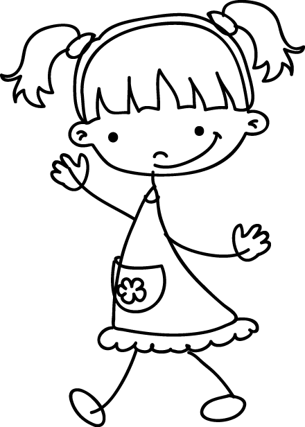 TenStickers. Little Girl Sketch Decal. Add a touch of fun with this happy little girl in a cute dress. Monochrome wall sticker to give her bedroom a lovely atmosphere.
