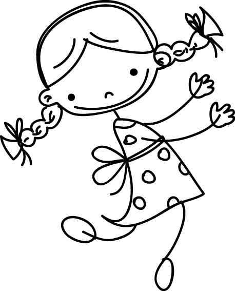 TenStickers. Little Girl Sketch Kids Sticker. Kids Wall Stickers - Playful cute sketch of a little girl dancing and looking happy, perfect for decorating your child's bedroom, play area or nursery. This illustration design is available in various colours and sizes and is sure to bring a smile to the little one's face.