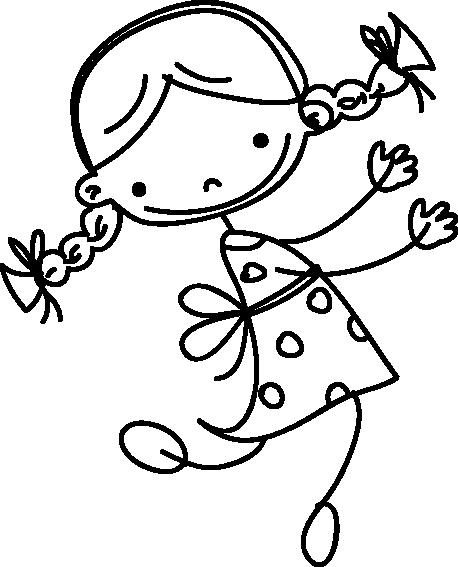 little girl sketch kids sticker - Sketch Images For Kids