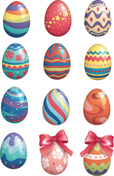 TenStickers. Easter Eggs Sticker. A collection of colourful and patterned eggs that are perfect for decorating your home or business for Easter.