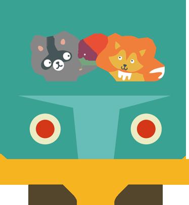 TenStickers. Sticker enfant bus renard. Décorez la chambre de votre enfant avec ce couple de petites bêtes amoureuse en bus sur sticker. Freepik
