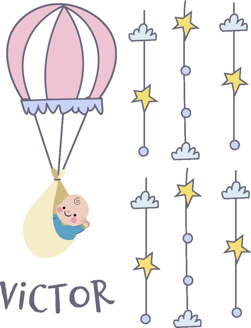 TenStickers. Sticker kinderkamer luchtballon. Een muursticker van een luchtballon tussen de sterren, decoreer uw kinderkamer op een originele manier met behulp van deze mooie interieursticker.