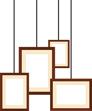 TenStickers. Exposition Frames Sticker. A collection of four rectangular frames that create the effect that they are hanging from the ceiling.