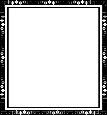 TENSTICKERS. ギリシャの正方形のフレームのステッカー. 古典的な世界の愛好家のためのギリシャのパターンの正方形のフレームステッカー。