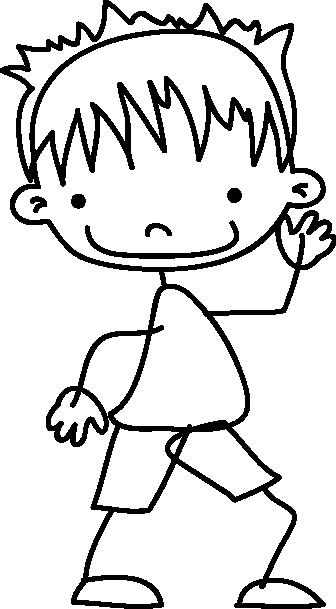 TenStickers. Sticker kind dansen tekening. Muursticker van een vrolijke jongen met een korte broek en mooie stekels in zijn haren. Wanddecoratie voor de babykamer of slaapkamer van je kind.